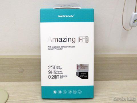 Película de Vidro Protetora de Tela para Moto Z Play Nillkin H+Pro em sua embalagem
