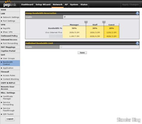 Adjusting bandwidth control in the Peplink-Balance One