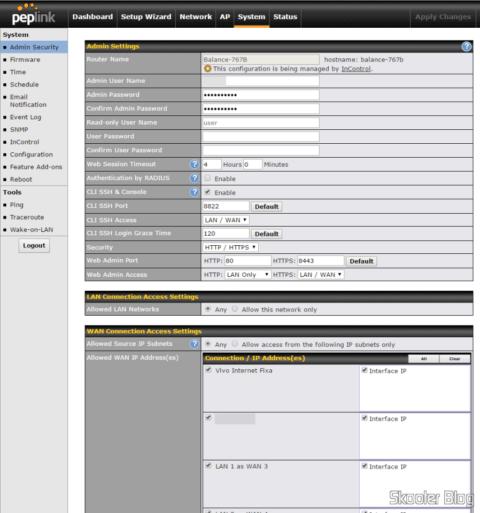 Configurações do Acesso Administrativo no Peplink Balance One