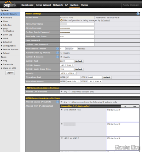 Administrative Access settings in the Peplink-Balance One