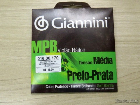 Giannini Guitar MPB Nylon Stringing Medium Voltage Black-Silver, on its packaging