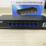 Switch de Vídeo Composto + Audio Estéreo (3 RCA) com 8 entradas e 1 saída