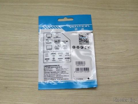 Adaptador USB 3.1 Tipo C Macho para Micro USB Fêmea Vention VAS-S10-B, em sua embalagem