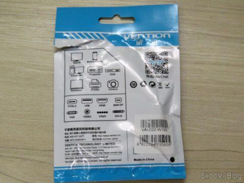 Cabo USB de Carga e Dados Vention para iPhone, em sua embalagem