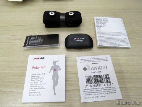 Sensor de Frequência Cardíaca Polar H7, folhetos e acessórios