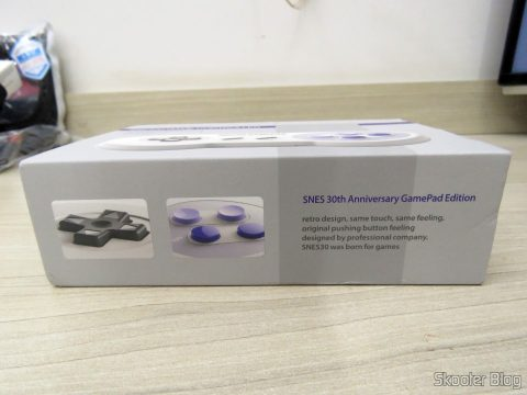 8bitdo SNES30 GamePad, on its packaging