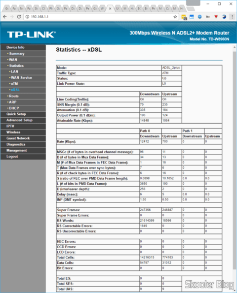 TP-Link TD-W8960N: with the SNR target in 6 dB