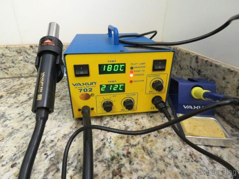 Soldering station and Hot air Rework Yaxun 702 110v, operation