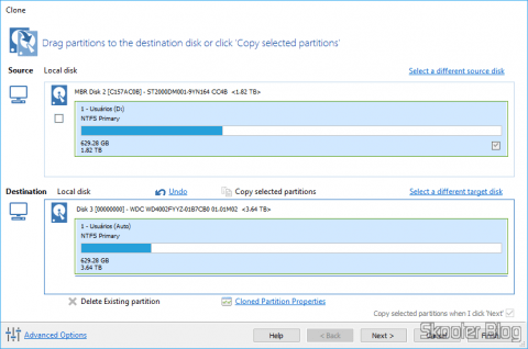 Cloning the hard drive with Macrium Reflect