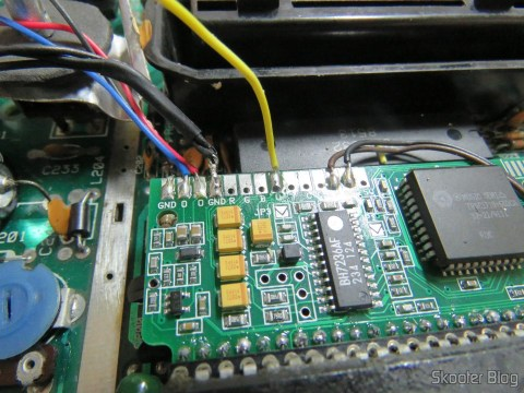 Soldering the wires on the label of 2600RGB.