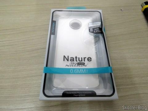 2ª Capa Transparente para Motorola Moto Z Play Nillkin Nature TPU 0,6mm, em sua embalagem.