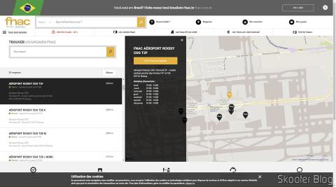 Site da Fnac informa o horário de funcionamento da loja no Terminal 2F do Aeroporto Charles de Gualle. Essa informação está errada.