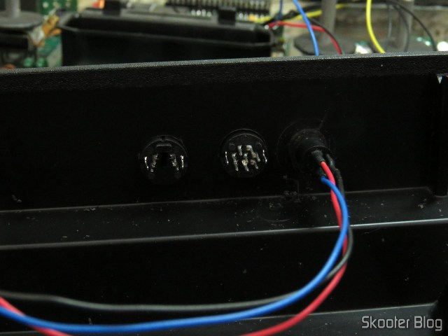 Mini DIN jacks and S-Video placed in holes.