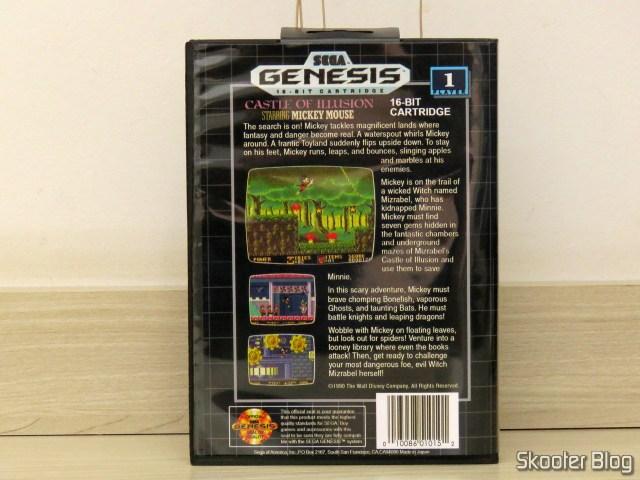 Cartucho de Mega Drive da AliExpress: Castle of Illusion starring Mickey Mouse, em sua caixinha.