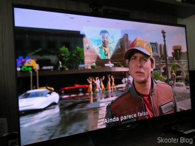 Minix Neo U1 executando conteúdo 1080p e fazendo o upscale para 4K para a Sony XBR-55X905E.