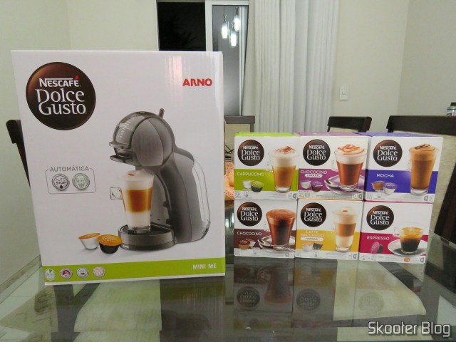 The Mini Me Coffee and boxes of capsules.
