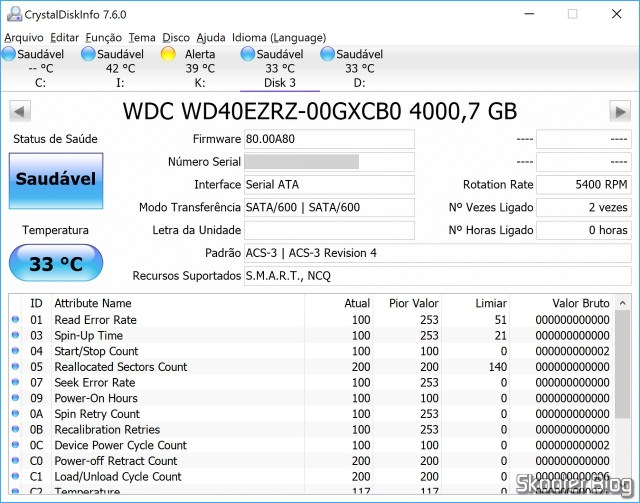 """HDD Western Digital Blue 3.5"""" WD40EZRZ 4 TB in CrystalDiskInfo."""