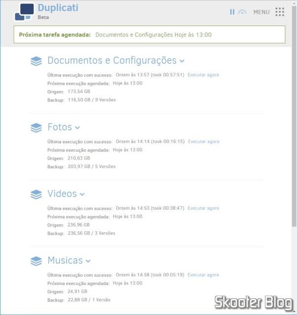 Duplicati interface, accessed via Web.