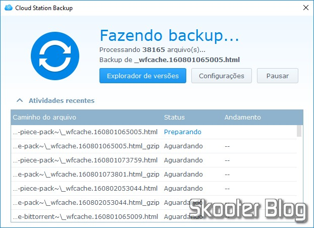Cloud Station Backup em funcionamento.