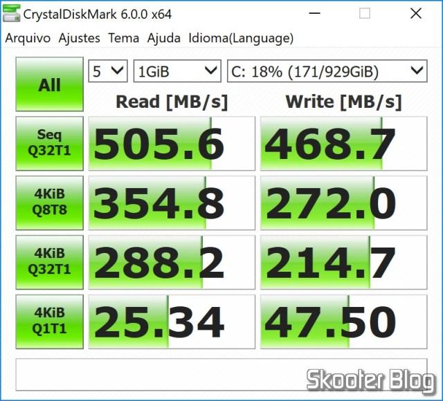 SanDisk 1TB Ultra 3D NAND SATA III SSD - 2.5-inch Solid State Drive - SDSSDH3-1T00-G25 in CrystalDiskMark.