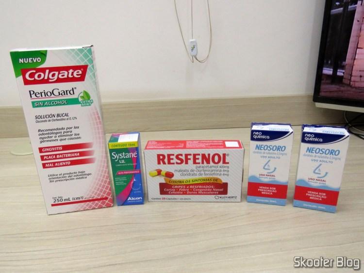 Periogard, Systane, Resfenol and 2 Neosoro.