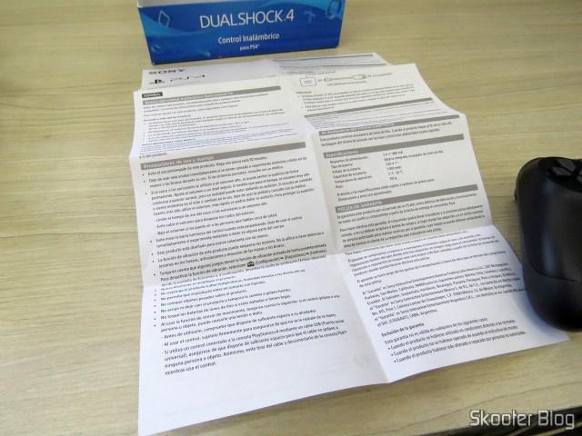 Folheto de Instruções do Controle PS4 Playstation 4 Dualshock 4 Original Sony Sem Fio.