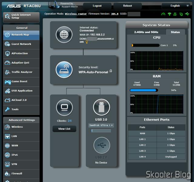 A tela principal, com várias informações de status do sistema.