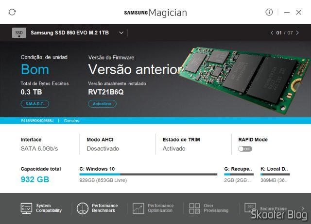 Samsung 860 EVO 1TB M.2 SATA Internal SSD (MZ-N6E1T0BW) in the Samsung Magician.