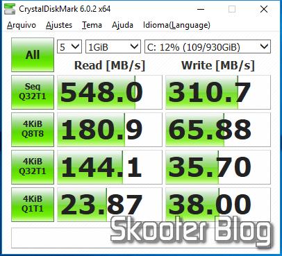 Teste do SanDisk 1TB Ultra 3D NAND SATA III SSD - 2.5-inch Solid State Drive - SDSSDH3-1T00-G25 com o CrystalDiskMark.