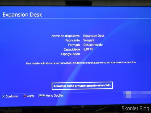 HD Externo Seagate Expansion 8TB detectado no Playstation 4 Pro.