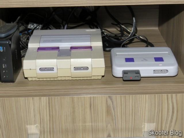 Analogue Super Nt, repositioned alongside the original Super NES.