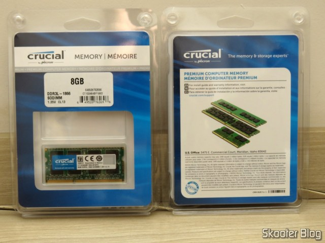 2 Módulos de Memória Crucial 8GB Single DDR3/DDR3L 1866 MT/s (PC3-14900) Unbuffered SODIMM 204-Pin Memory - CT102464BF186D.