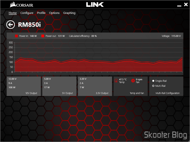 Graphic and RM850i ​​parameters in Corsair Link.
