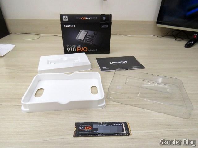 Samsung 970 EVO 500GB – NVMe PCIe M.2 2280 SSD (MZ-V7E500BW), e sua embalagem.