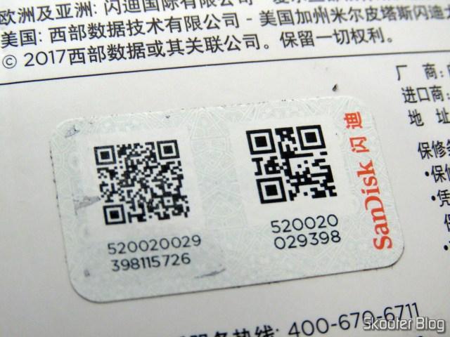 Selo de verificação do Sandisk microSDHC Ultra UHS-1 32GB - AliExpress (original), em sua embalagem.