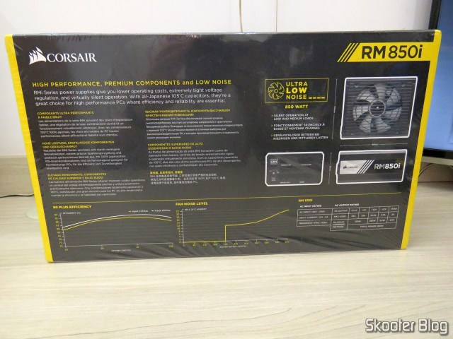 PSU Corsair RMi Series ™ RM850i, on its packaging.