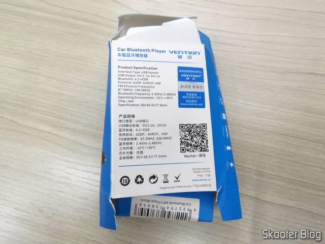 Embalagem do Vention Car Bluetooth Player Multifunção.