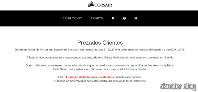 Aviso do recesso do sistema da Corsair.
