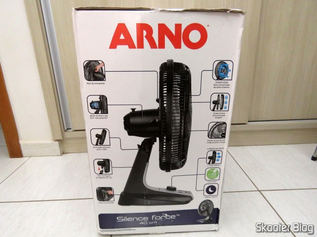 Arno VF40 Silence Force fan 40 cm, on its packaging.