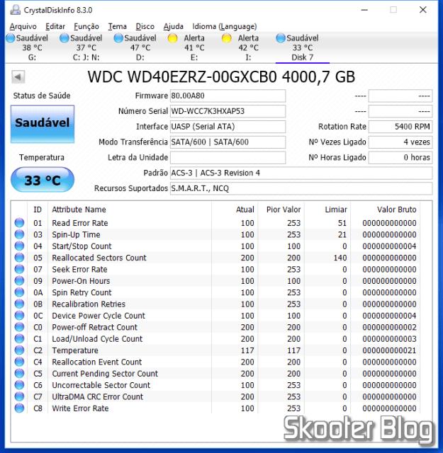 HDD Western Digital Blue 4TB WD40EZR conectado no Wavlink USB 3.0 Dual Bay Docking Station and identified by CrystalDiskInfo.