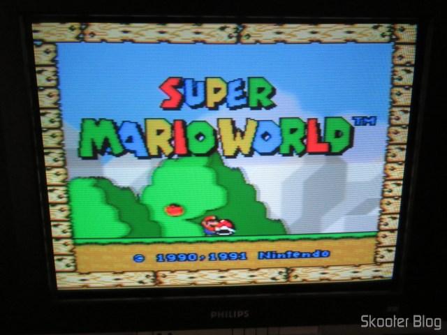 Super Nintendo Original NTSC PCB SHVC-CPU-01 CPU/PPU1/PPU2 1/1/1, conectado na TV CRT.