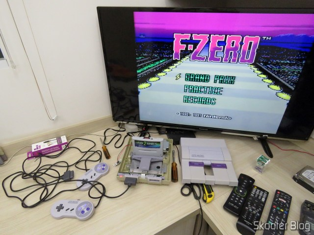 Super Nintendo Original NTSC PCB SHVC-CPU-01 CPU/PPU1/PPU2 2/1/3, being tested.