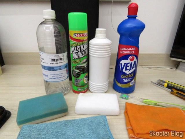 Petrol, Revitalizador, Isopropyl alcohol, Look, Esponja de Melamina, Toothbrush, Tecido de Microfibra, Flanela.