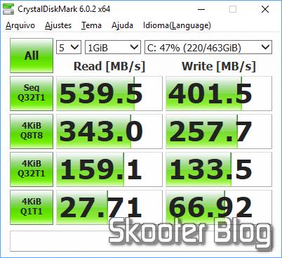 Teste do SSD com o CrystalDiskMark.