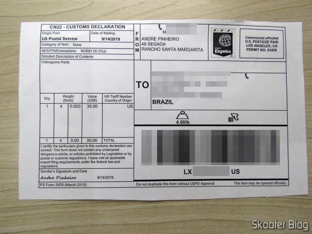 Customs form in the box with the Super Nintendo Original NTSC PCB SHVC-CPU-01 CPU/PPU1/PPU2 2/1/3.