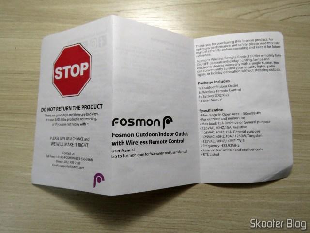Manual de Instruções da Fosmon Wireless Remote Control Outlet C-10683.