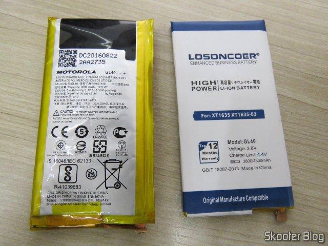 Bateria para Moto Z Play XT1635 Losoncoer GL40 4050mAh, ao lado da bateria original estufada.