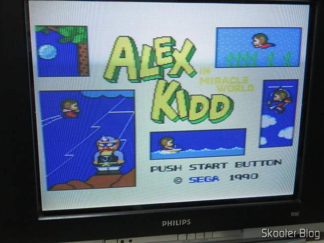 Alex Kidd in Miracle World, in the Master System II fully operational.