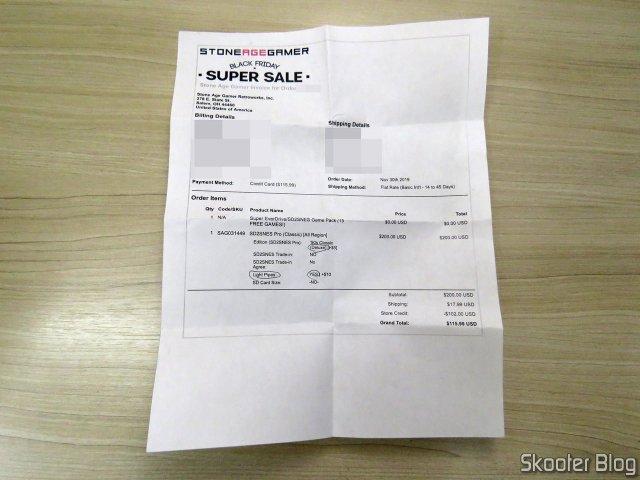 Invoice do SD2SNES Pro Deluxe (FXPAK Pro) - Stone Age Gamer.