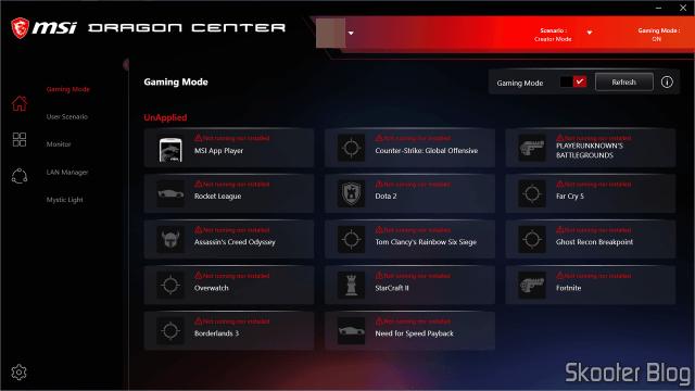 MSI Dragon Center - Gaming Mode.